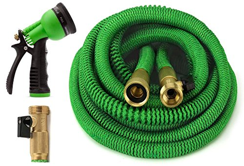 ALL NEW 2020 Garden Hose 50 Feet {IMPROVED} Expandable Hose with All Brass Connectors, 8 Pattern Spray And High Pressure, Expanding Garden Hose - Garden Hoses