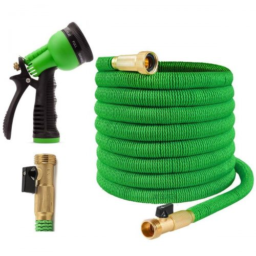 Expandable Garden Hose - 50 Feet Green - Extra Strong Stretch Material with Brass Connectors - Bonus 8 Way Spray Nozzle, Carrying Bag and Hanger - by Joeys Garden - Garden Hoses