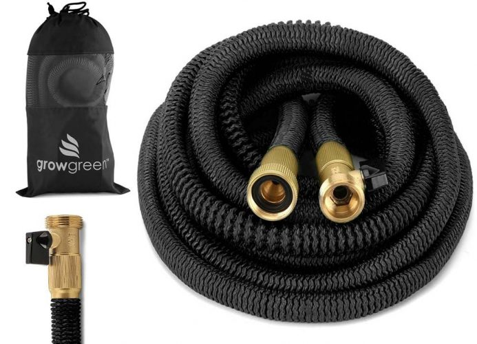 GrowGreen HEAVY DUTY 50' Feet Expandable Hose Set, Strongest Garden Hose on Earth. With All Solid Brass Connector + Storage Sack, by - Garden Hoses