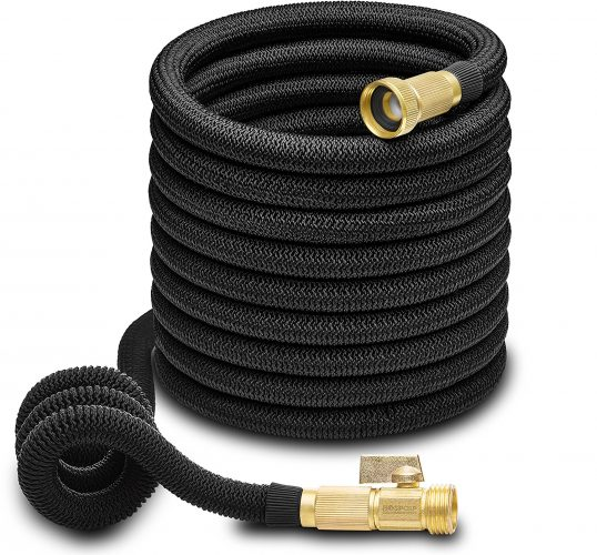 Hospaip 50ft Garden Hose - ALL NEW Expandable Water Hose with Double Latex Core, 3/4 Solid Brass Fittings, Extra Strength Fabric - Flexible Expanding Hose with Storage Bag for Easy Carry by - Garden Hoses