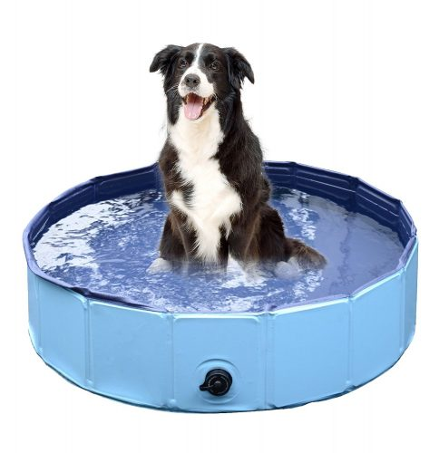 Jasonwell Foldable Dog Pet Bath Pool, Collapsible Dog Pet Pool Bathing Tub for Dogs or Cats (32inch.D x 8inch.H, Blue) - dog pools