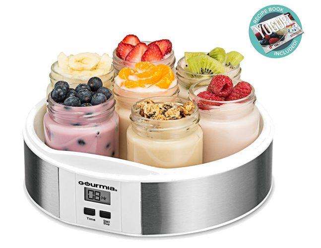 Gourmia GYM1610 Auto Yogurt Maker - 7 Glass Jars - Customize Flavor & Thickness - Free Recipe Book Included - yogurt maker