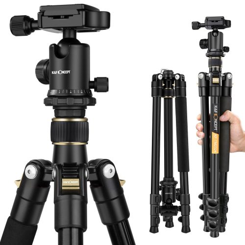 K&F Concept 62'' DSLR Tripod, Lightweight and Compact Aluminum Camera Tripod with 360 Panorama Ball Head Quick Release Plate for travel and work ( TM2324 Black ) - DSLR camera tripods