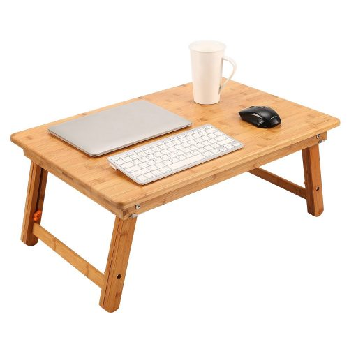 Large Size Laptop Tray Desk NNEWVANTE Foldable Bed Table Tray, Coffee/TV Desk 100% Bamboo Breakfast Serving Tray Gaming Writing Support up to 18in Laptop, 26x17.7in