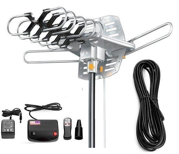 Vilso TV Antenna Outdoor Amplified - Motorized 360 Degree Rotation - Digital HDTV Antenna - 150 Miles Range - Wireless Remote (Non Mount Pole) - Long Range Outdoor HDTV Antennas