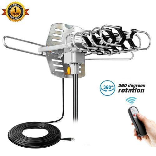 Outdoor TV Antenna Kainier Amplified HDTV Digital Antennas Easy Install and Set, 150 Miles Long Range Reception, Include Motorized 360 Degree Rotation and Wireless Remote - Long Range Outdoor HDTV Antennas
