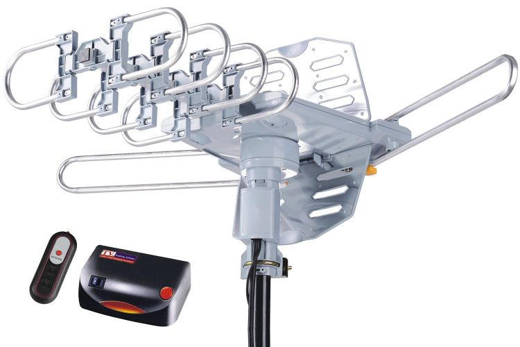 pingbingding HDTV Antenna Amplified Digital Outdoor Antenna with Mounting Pole--150 Miles Range--360 Degree Rotation Wireless Remote--Snap-On Installation Support 2 TVs - Long Range Outdoor HDTV Antennas