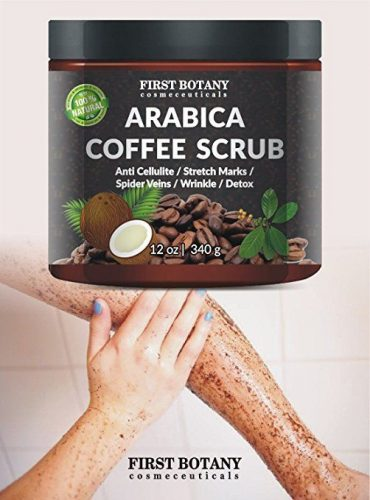 100% Natural Arabica Coffee Scrub with Organic Coffee, Coconut and Shea Butter - Best Acne, Anti Cellulite and Stretch Mark Treatment, Spider Vein Therapy for Varicose Veins & Eczema (12 oz) - Stretch Mark Removal Creams