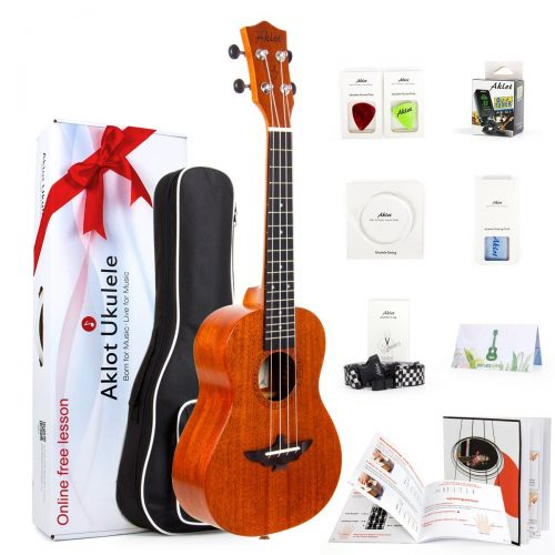 Soprano Ukulele 21 Inch Solid Mahogany Ukele Ukelele For Beginners With Free Online Lessons 8 Packs Starter Kit ( Gig Bag Picks Tuner Strap String Cleaning Cloth Instruction Book Gift Box ) From AKLOT