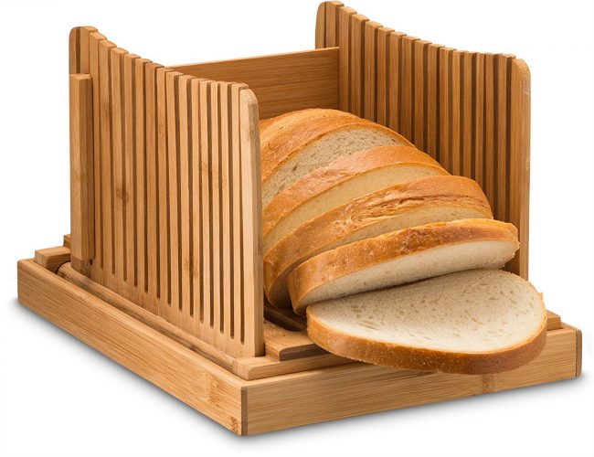 Bamboo Foldable Bread Slicer With Crumb Catcher Tray For Cutting Even Slices Every Time, Wooden Manual Bread Slicer Perfect For Homemade Bread And Loaf Cakes, Folds Flat For Easy Storage By Bambusi - bread slicers