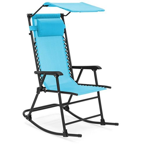 Best Choice Products Foldable Zero Gravity Rocking Patio Recliner Chair w/Sunshade Canopy - Light Blue - Zero Gravity Chairs