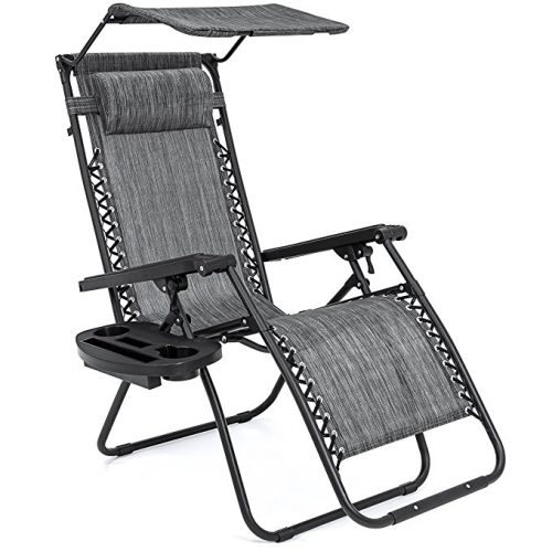 Best Choice Products Folding Zero Gravity Recliner Lounge Chair With Canopy Shade & Magazine Cup Holder (Gray) - Zero Gravity Chairs