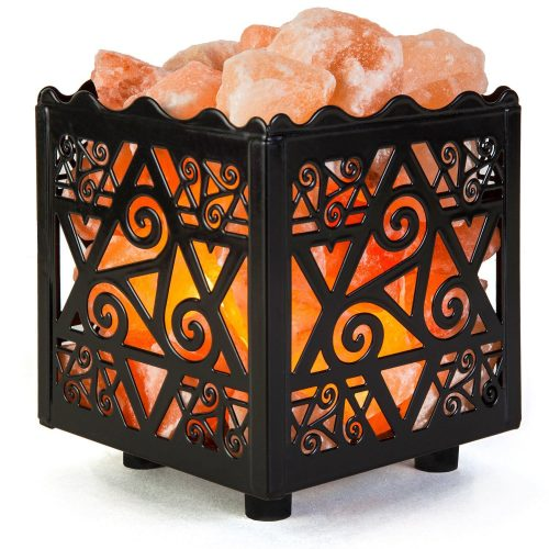 Crystal Decor Natural Himalayan Salt Lamp in Star Design Metal Basket with Dimmable Cord - Himalayan Salt Lamps