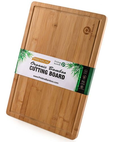 "EXTRA LARGE ORGANIC Bamboo Cutting Board w/ Handles and Juice Grooves | Non-slip Wooden Chopping Board for Meat (Butcher Block), Vegetables, Fruit | Perfect Serving Board (18 x 12"") by Pristine Bamboo - Wooden Cutting Boards"