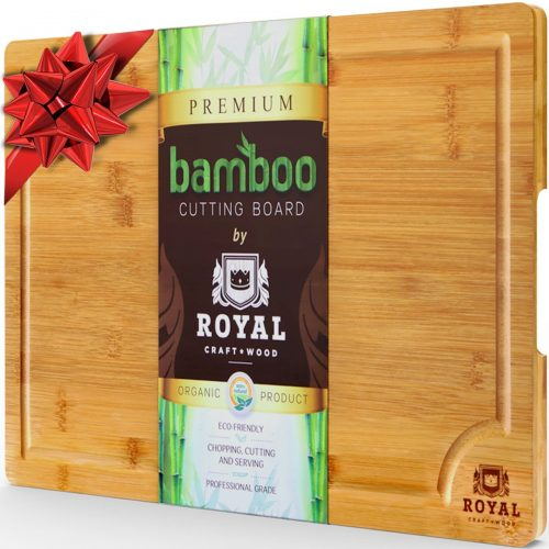 EXTRA LARGE Organic Bamboo Cutting Board with Juice Groove - Best Kitchen Chopping Board for Meat