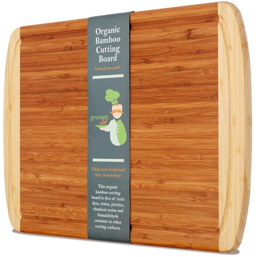 Extra Large Organic Bamboo Cutting Board for Kitchen - NEW CRACK-FREE DESIGN - Best Wood Chopping Boards w/Juice Groove for Carving Meat, Wooden Butcher Block for