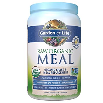 Garden of Life Meal Replacement - Organic Raw Plant Based Protein Powder, Vanilla, Vegan, Gluten-Free, 34.2oz (969g) Powder - Organic Protein Powders