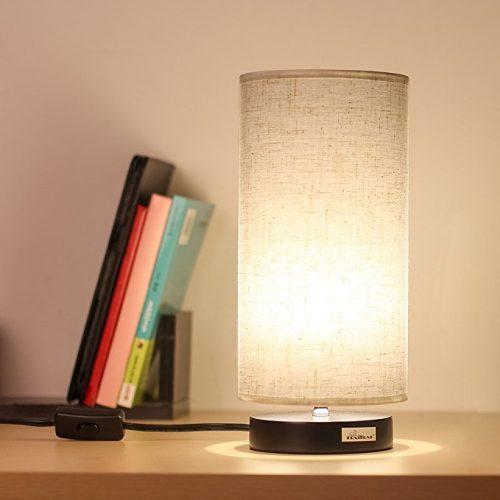 HAITRAL Desk Lamp Fabric Shade Nightstand light Modern table Lamp for Bedroom, Office,College Dorm - Desk Lamps