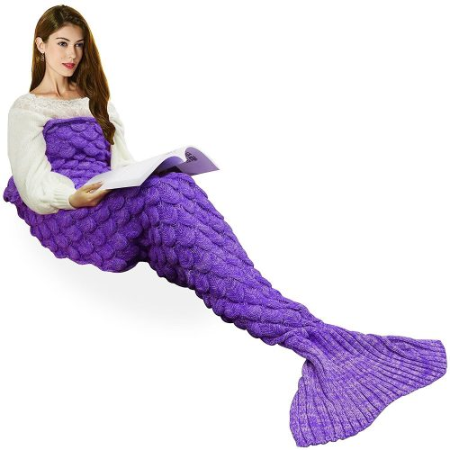 Handmade Knitted Mermaid Tail Blanket, T-tviva All Seasons Warm Bed Blanket Sofa Quilt Living Room Sleeping Bag for Kids and Adults