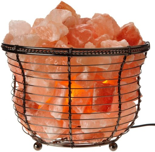 Himalayan Glow Natural salt lamp, Tall Round Basket, 8in High, 10LBS, dimmable table lamp by WBM - Himalayan Salt Lamps