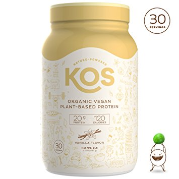 KOS Organic Plant Based Protein Powder Chocolate – Raw Organic Vegan Protein Blend, 2.2 Pound, 30 Servings - Organic Protein Powders