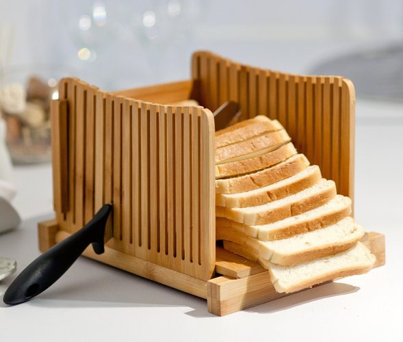 Kenley Bamboo Bread Slicer For Homemade Bread & Loaf Cakes - bread slicers