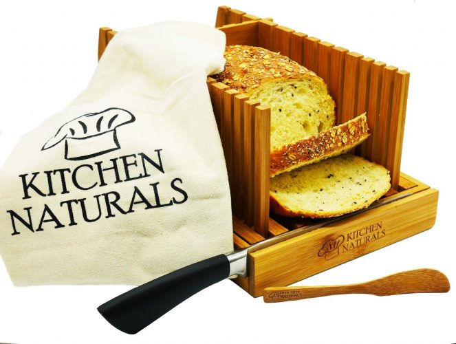 Kitchen Naturals Premium Bamboo Bread Slicer, With Different Slicing Sizes, Built-In Knife Rest, Foldable Design With Storage Tote Bag And With FREE GIFTS - bread slicers