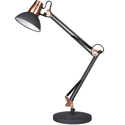 LEPOWER Metal Desk Lamps, Adjustable Goose Neck Architect Table Lamp, Eye-caring Study Lamps for Bedroom and Office ( Black) - Desk Lamps