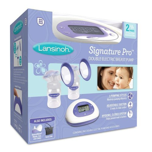 Lansinoh Signature Pro Double Electric Breast Pump with LCD Screen, Portable Breast Pump, Hygienic Closed System Design