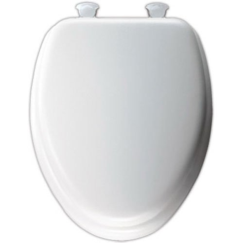 Mayfair Soft Toilet Seat with Molded Wood Core and Easy-Clean & Change Hinges, Elongated, White, 113EC 000 - toilet seats
