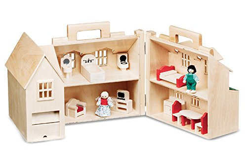 Melissa & Doug Fold & Go Dollhouse - wooden doll house