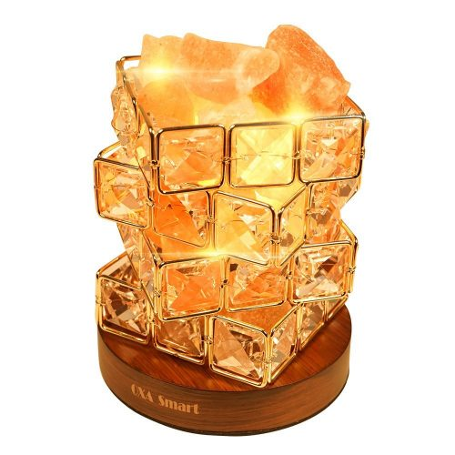 OXA Gorgeous Himalayan Salt Lamp,Natural Hymalain Pink Salt Rock in Crystal Basket(3.85pounds,6.0'') with Dimmer Switch,2xBulbs,UL-Listed Cord &Wood Base - Himalayan Salt Lamps