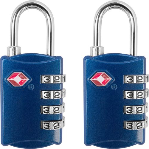 TSA Luggage Locks (2 Pack) - 4 Digit Combination Steel Padlocks - Approved Travel Lock for Suitcases & Baggage - Luggage Locks