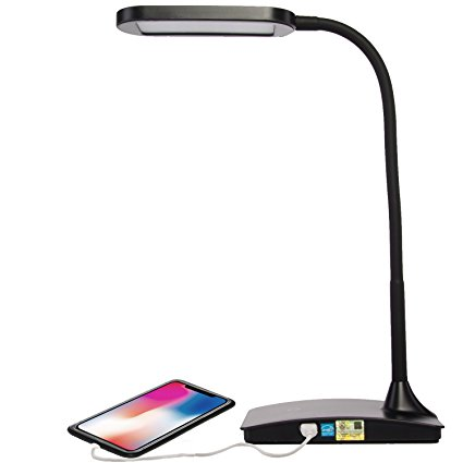 TW Lighting IVY-40BK The IVY LED Desk Lamp with USB Port, 3-Way Touch Switch, Black - Desk Lamps