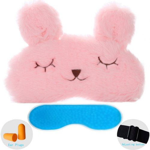 ZHICHEN Silk Eye Mask with Lovely 3D Cute Rabbit or Koala Face Soft Eye Bags Adjustable Sleeping Blindfold for Kids Girls Adult for Yoga Traveling Sleeping Party [Including Ice Bag]