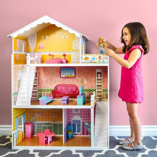 Best Choice Products Large Childrens Wooden Dollhouse Fits Barbie Doll House w/ 17-Piece Furniture