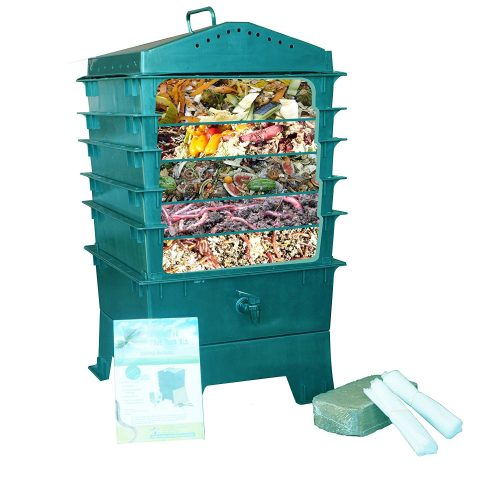 VermiHut 5-Tray Worm Compost Bin, Dark Green - Composting Bins
