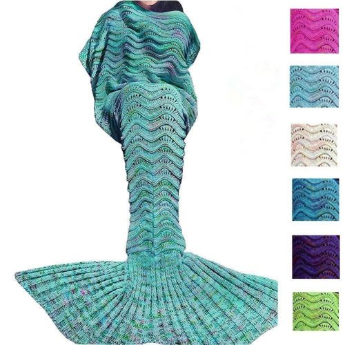 DDMY Mermaid Tail Blanket For Kids Teens Adult Handmade Wave Mermaid Blankets Crochet Knitting Blanket Seasons