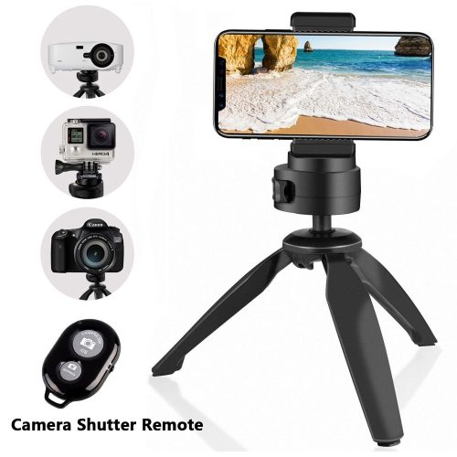 Heavy Duty Tripod, UBeesize Phone and Camera Tabletop Mini Tripod with Cell Phone Clip Holder for iPhone, Smartphones, Gopro, Webcams, Compact Cameras and DSLRs