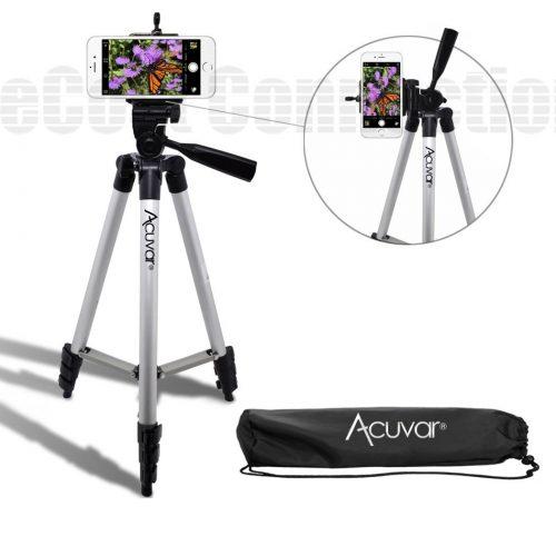 "Acuvar 50"" Inch Aluminum Camera Tripod and Universal Smartphone Mount"