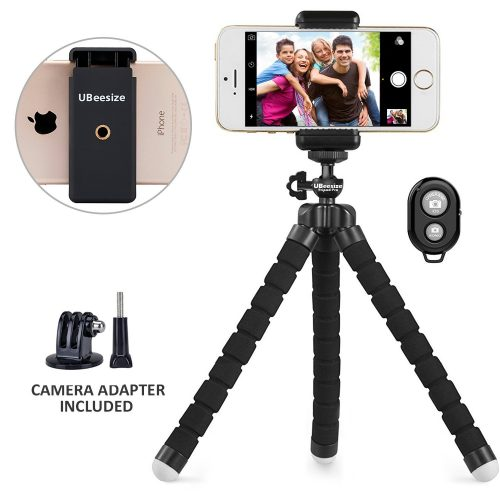 Phone tr.ipod, UBeesize Portable and Adjustable Camera Stand Holder with Remote and Universal Clip