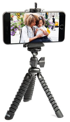 LOHA Flexible Tripod Holder for iPhone, Samsung Galaxy and other smart phone brands - with Bendable Octopus Legs for additional support