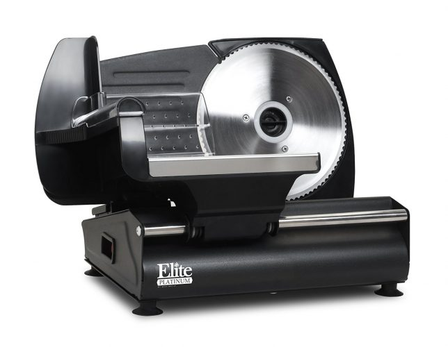Elite Gourmet EMT-503B Maxi-Matic 130 Watt Die-Cast-Aluminum Electric Food Slicer