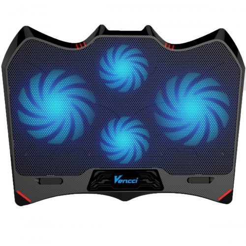 Laptop Cooling Pad, Vencci Laptop Cooler Chill Mat with 4 Quiet Fans USB Powered Adjustable Mounts Stand with LED Lights (10-17inch) - laptop cooling pads