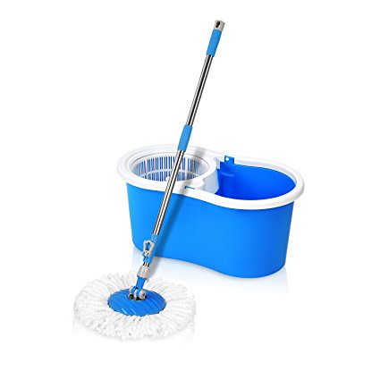 Hapinnex Easy Spin 360° Press Mop Bucket Set - Push & Pull Rotation - Liquid Drain Hole - Easy Wring with Reusable Mop Heads - Non-Pedal - Spin Mops