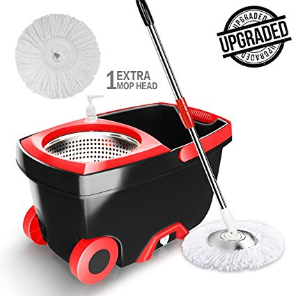 O-Cedar EasyWring Microfiber Spin Mop & Bucket Floor Cleaning System with 3 Extra Refills - Spin Mops