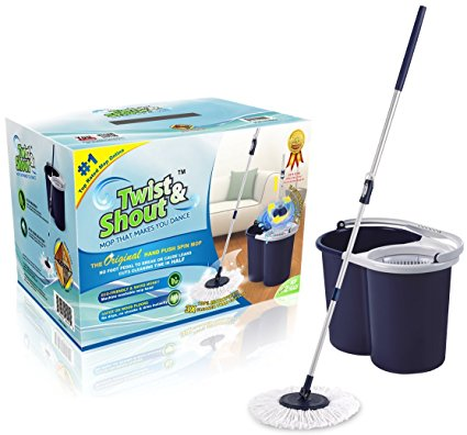 Twist and Shout Mop - The Original Hand Push Spin Mop - Life Time Warranty - 2 Microfiber Mop Heads Included - Spin Mops
