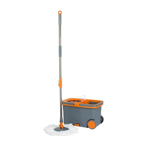 Casabella Spin Cycle Mop with Bucket – Graphite/Orange - Spin Mops