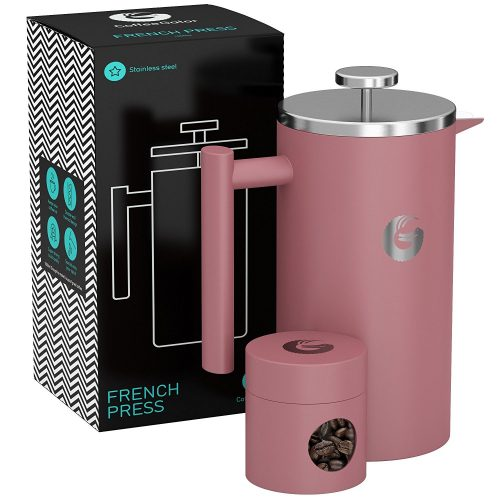 Large French Press Coffee Maker – Vacuum Insulated Stainless Steel With Double Filter, Travel Canister and eBook – By Coffee Gator, 34floz,