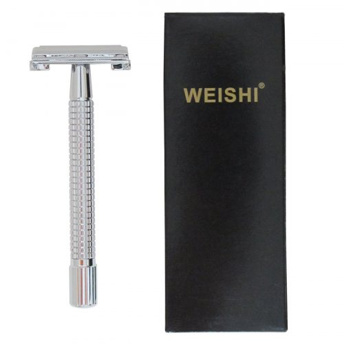 WEISHI Chrome Long Handle Version Butterfly Open Double Edge Safety Razor - Double Edge Safety Razors